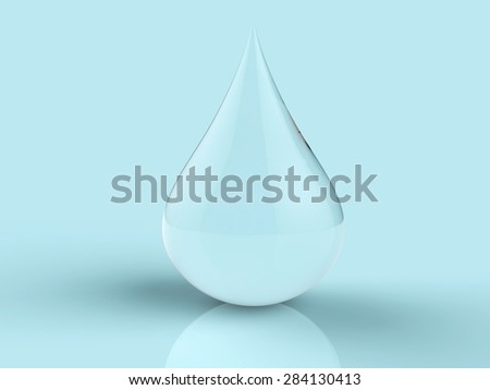 3d render droplet of water on blue pastel background - stock photo