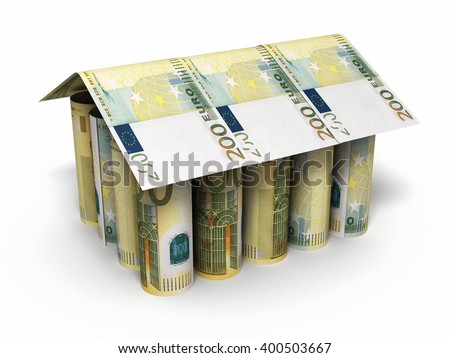 3d render 200 euro roll banknotes house shaped close-up (isolated on white and clipping path) - stock photo
