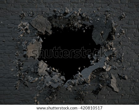 3d render, explosion, broken black wall, bullet hole, destruction, abstract background - stock photo