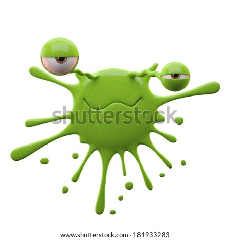 3D render fantasy monster, color grunge character, funny design element, amusing illustration, unique expression sticker isolated on the white background  - stock photo