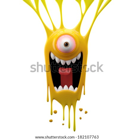 3D render fantasy monster, color grunge character, funny design element, attractive emoticon, unique expression sticker isolated on the white background - stock photo