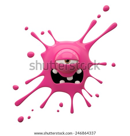 3D render fantasy monster, color grunge character, funny design element, humour emoticon, unique expression sticker isolated on the white background - stock photo