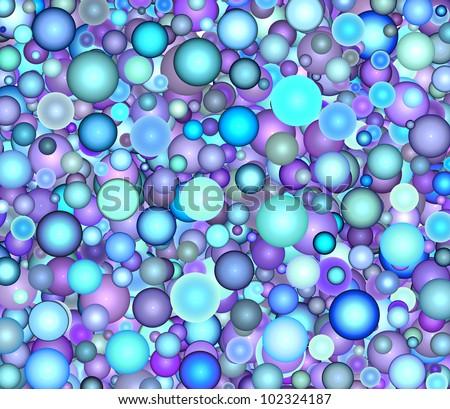 3d render floating bubble backdrop in multiple blue purple - stock photo
