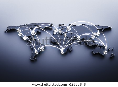 3d render global business concept - stock photo