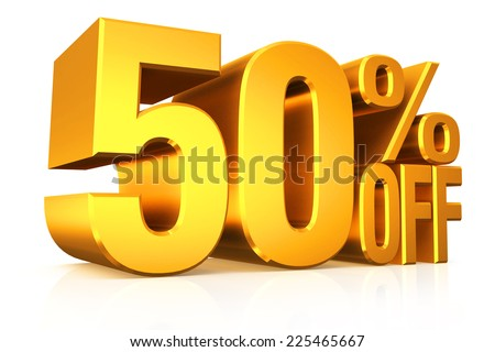 3D render gold text 50 percent off on white background with reflection. - stock photo