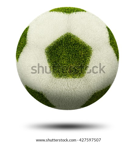 3d render, Green and white grass football. Isolated on white. - stock photo