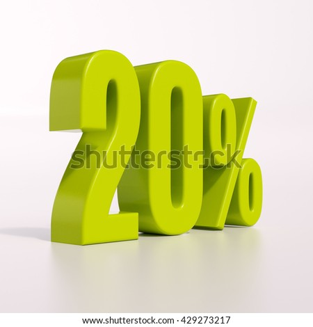 3d render: green 20 percent, percentage discount sign on white, 20% - stock photo