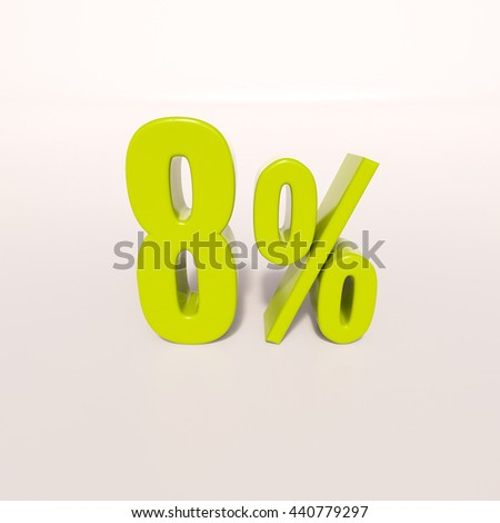 3d render: green 8 percent, percentage discount sign on white, 8% - stock photo