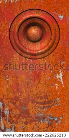 3d render grunge orange old speaker sound system - stock photo
