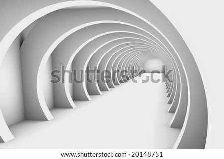 3D Render Hallway - stock photo