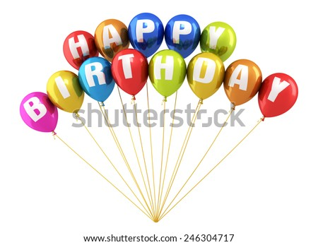 3d render Happy Birthday Writing Colorful balloons render (isolated on white and clipping path) - stock photo