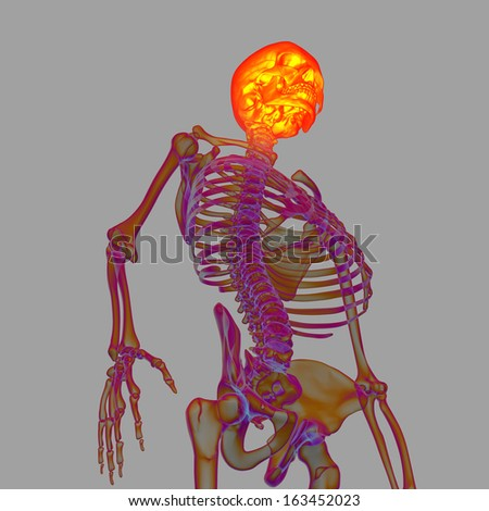3d render human of head pain - bottom view - stock photo