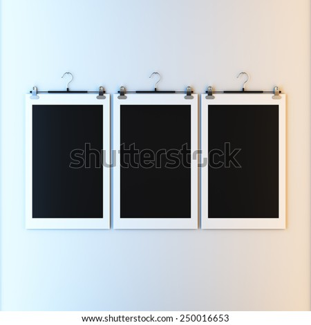 3d render illustration blank template layout of empty paper frame on hanger clips. Paint surface empty to place your photo, image, picture, text or logo. - stock photo