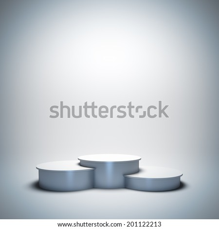 3d render illustration blank template layout of white empty sport winner podium. - stock photo