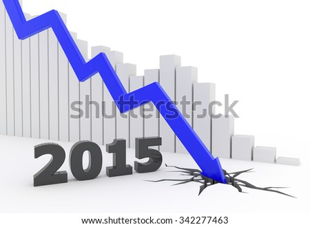 3D render illustration, blue arrow crashes to the ground - stock photo