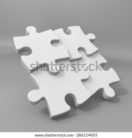 3D render illustration, four floating blank puzzle pieces - stock photo