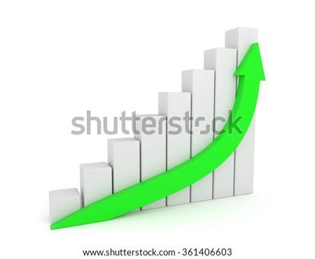 3D render illustration - Green Arrow Growth Diagram - stock photo