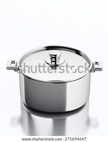 3d render illustration. Metallic pan. Kitchen concept. Isolated white background - stock photo