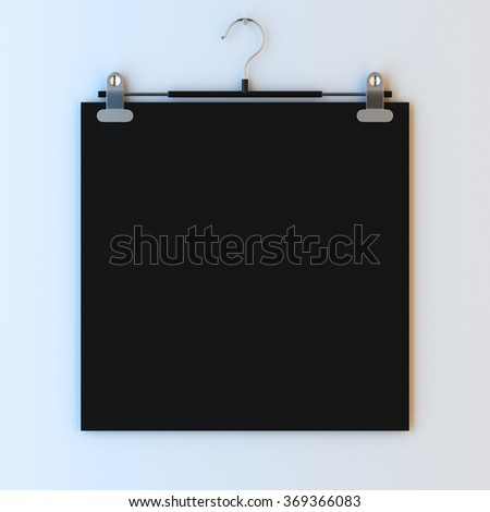 3d render illustration mockup of empty paper frame on hanger clips. Paint surface empty to place your photo, image, picture, text or logo. - stock photo