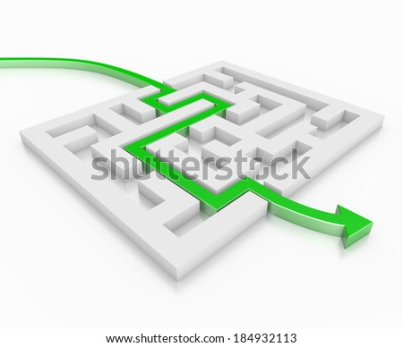 3d render illustration of a green arrow leading through a maze - stock photo
