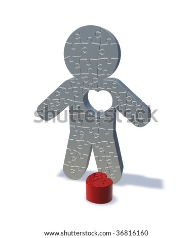 3d render illustration of a jigsaw man with his heart cut out, representing love lost. - stock photo