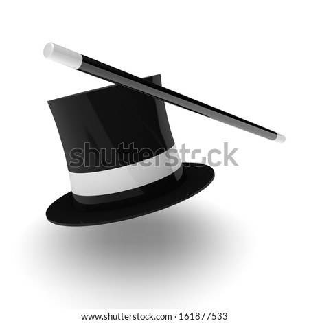 3D render illustration of a magician hat with wand on white background. - stock photo