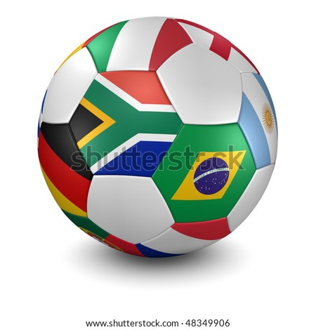 3d render/illustration of a soccer ball with national flags - south african flag in front - clipping path included - stock photo