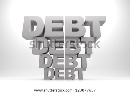 3d render illustration of words of debt in stack one after another. - stock photo