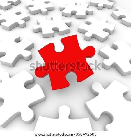 3D render illustration - Puzzle Pieces Concept - stock photo