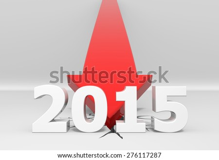 3D render illustration, red arrow crashes to the ground behind a 2015 text - stock photo