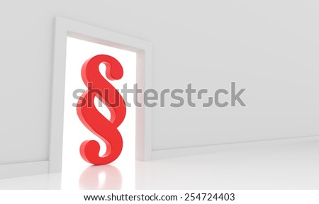 3D render illustration - Red paragraph symbol stands in doorway - stock photo