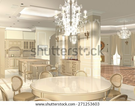 3 d render image. Interior design. Kitchen and dining room in a traditional style   - stock photo