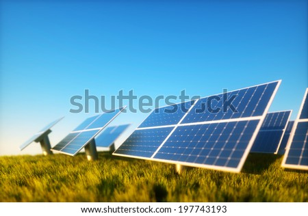 3d render image of grass field with photovoltaic - stock photo