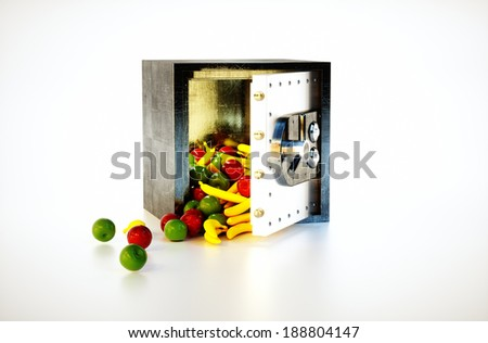 3d render image of safe deposit box with fruits - stock photo