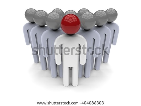 3D render image representing a team with a leader / Team leader Concept - stock photo