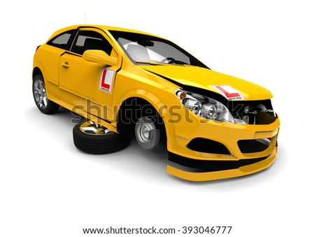 3D render image representing a wrecked learner driver car / Wreck car with learner driver sign - stock photo