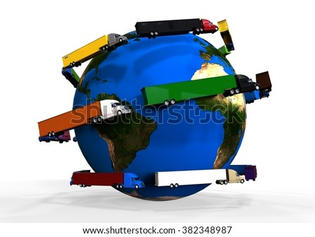 3D render image representing global truck transport, different color trucks around the earth globe / Global Trucking  - stock photo