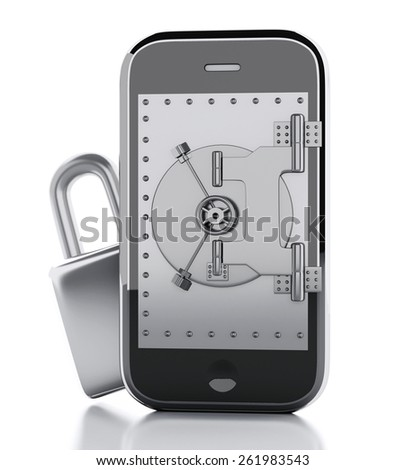 3d render image. Smartphone with safe door and padlock. Mobile security concept. Isolated white background - stock photo