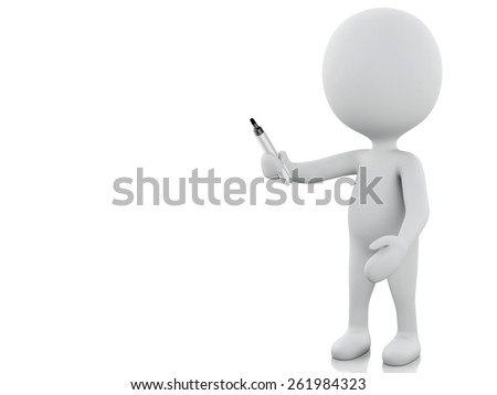3d render image. White people with marker. Isolated white background - stock photo