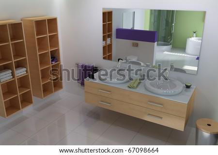3d render interior of modern bathroom - stock photo