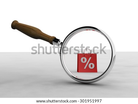3d render magnifying-glass and shopping bag. Sale - stock photo