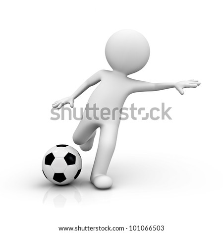 3d render man playing soccer on white background - stock photo