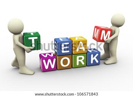 3d render men placing team work text cubes. 3d illustration of human character - stock photo