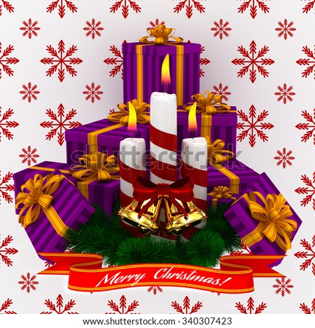 3D Render: Merry Christmas Burning candles with golden bells, christmass purple gifts and sprigs of christmas tree isolated on white-red snow background - stock photo