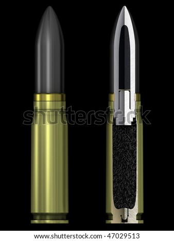 3d render 20 mm cartridge for german aircraft cannon with cutaway - stock photo