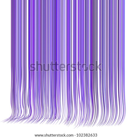 3d render multiple wavy hair lines in different purple on white - stock photo