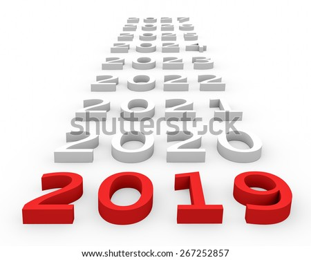 3d render New Year 2019 and next years on a white background.  - stock photo