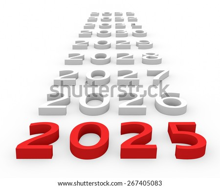 3d render New Year 2025 and next years on a white background.  - stock photo