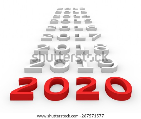 3d render New Year 2020 and next years on a white background.  - stock photo