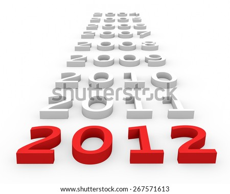 3d render New Year 2012 and next years on a white background.  - stock photo